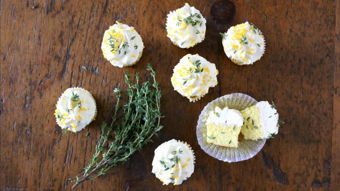 Fresh, bright, lemon-thyme olive oil cupcakes