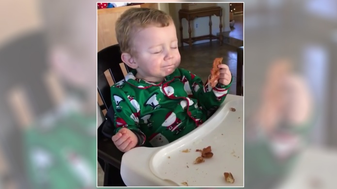 Baby tastes bacon for the first