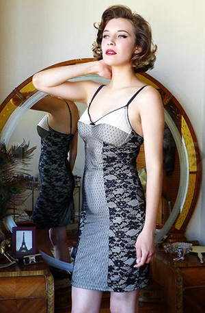 7e084e43b26 This Blush Glamour Point D esprit Retro Chemise from Dollhouse Bettie is  ideal to wear under dresses to make you feel extra sexy throughout the day.