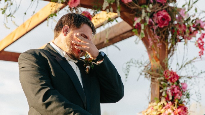 Photos of paralyzed groom standing at