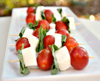 Vodka Caprese skewers