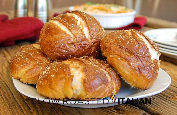 Pick-and-roll pretzel rolls