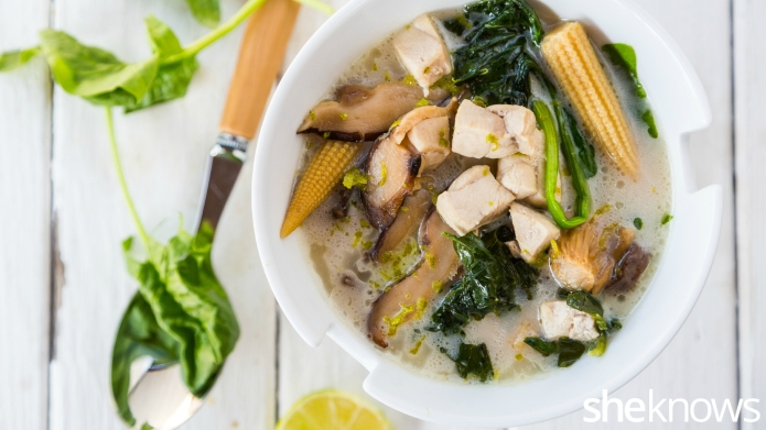 Coconut chicken soup that's light and