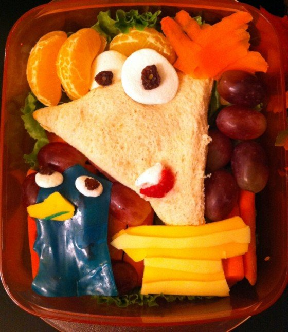Phineaus and Ferb inspired school lunch for kids