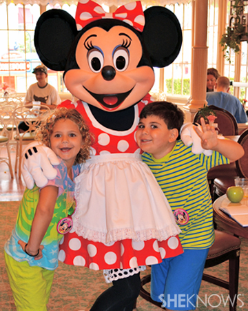 Eliza and Ethan Walmark with Minnie Mouse