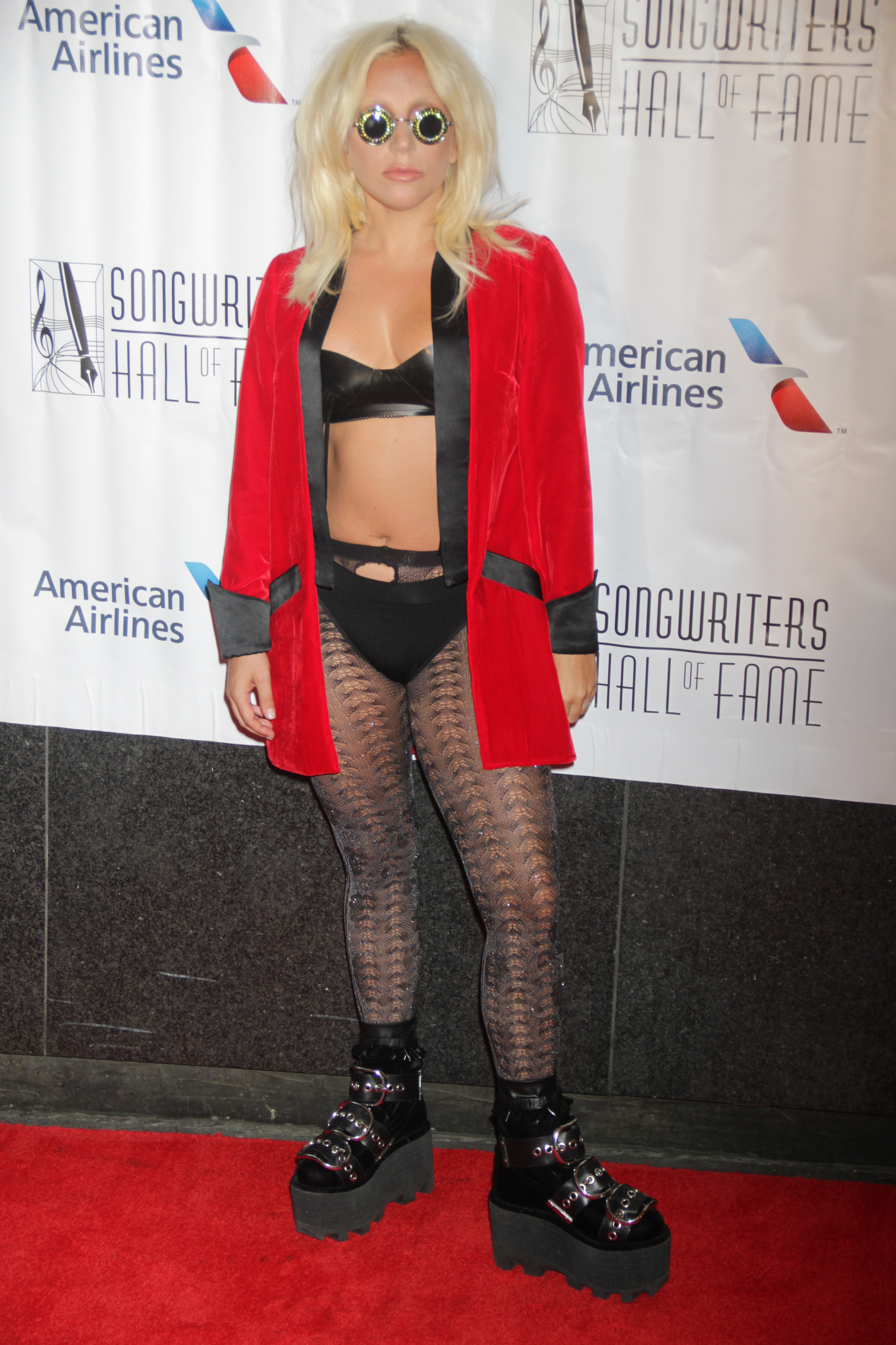 Lady Gaga in bra and panties on red carpet