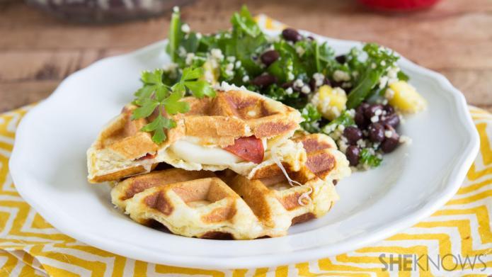 Stuffed-silly savory waffle sandwiches