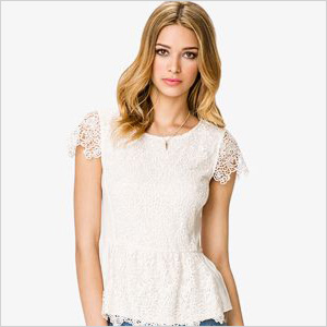 White paisley lace top