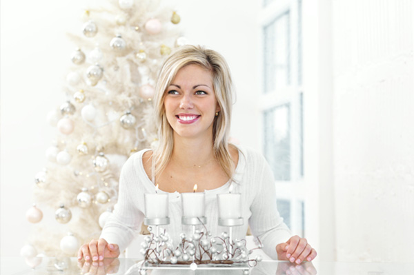 Woman with white Christmas tree