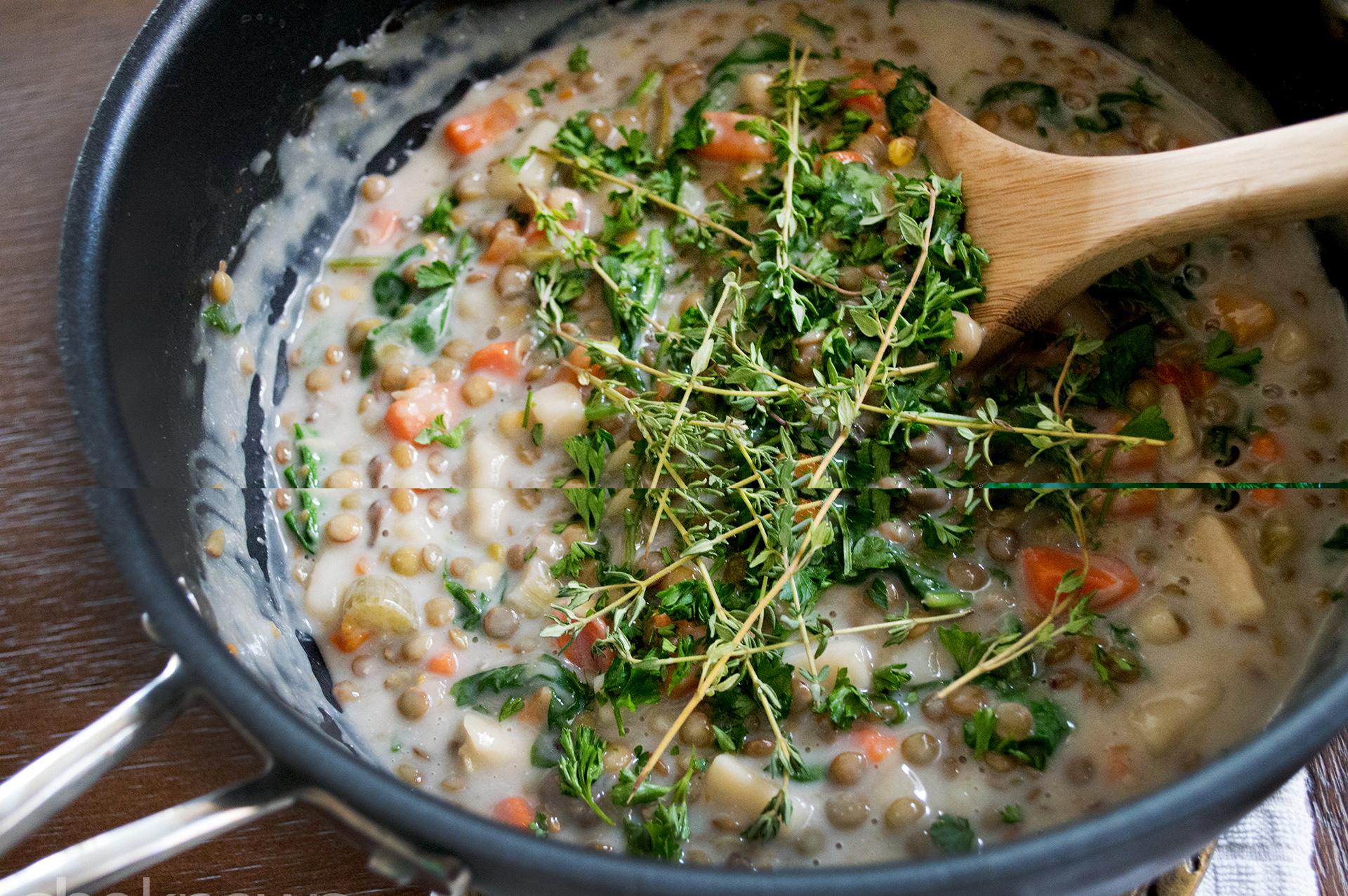 creamy white wine lentils