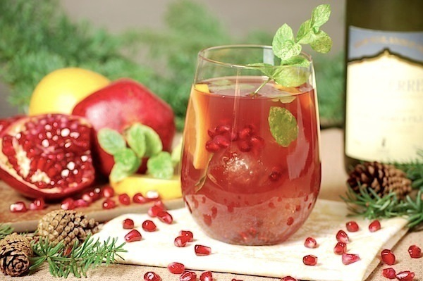 pomegranate-orange white wine cocktail