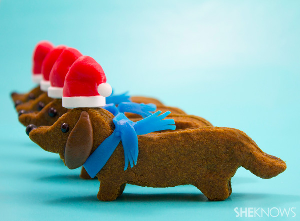Wiener dog Santa cookies
