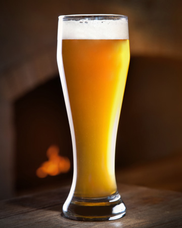 Beer in front of fireplace