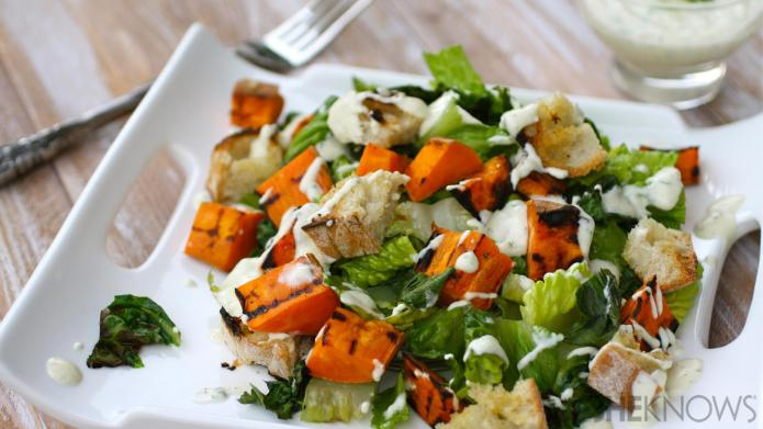 Grilled romaine and sweet potato salad