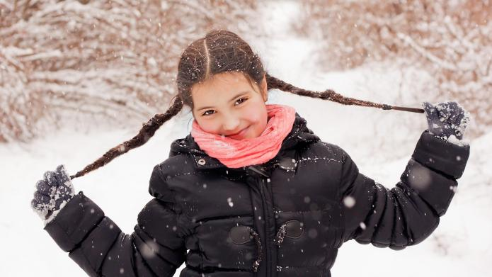 Cute smiling girl on winter snow