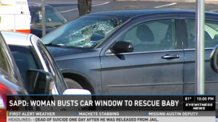 Woman shatters windshield to rescue stranger's