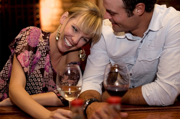 Woman laughing with boyfriend
