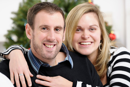 Woman and her boyfriend on Christmas