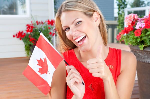 Woman celebrating Canada Day