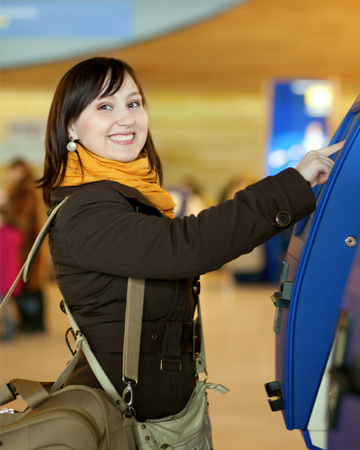 Woman checking in at airport