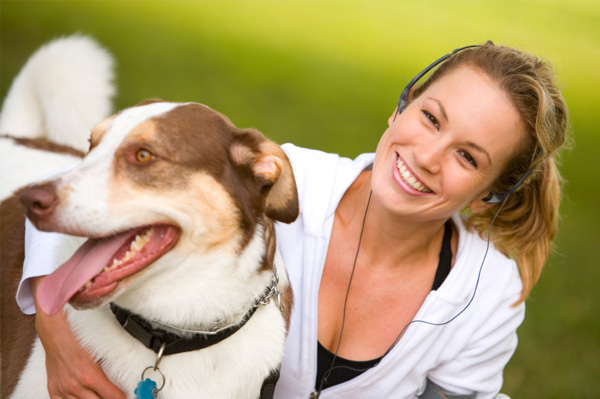 Woman exercising with dog