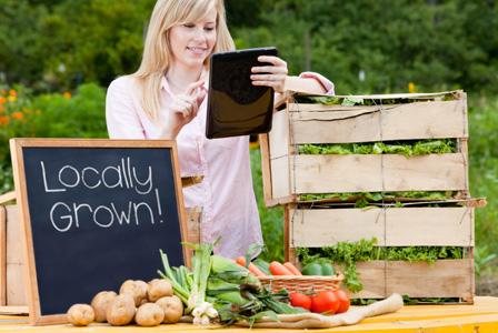 Woman farmer with tablet