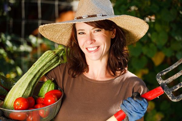Woman gardening vegetables