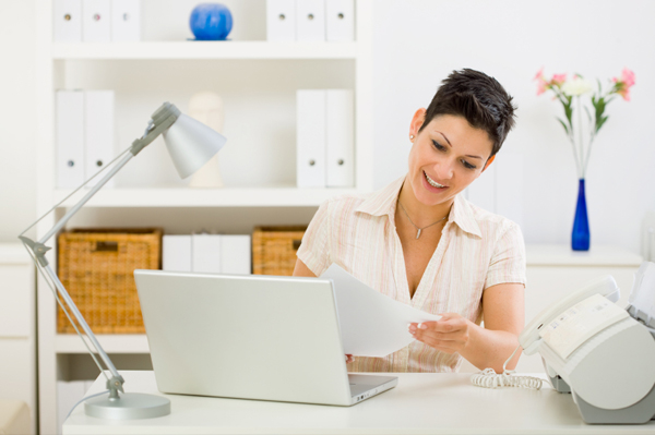 Woman in organized home office