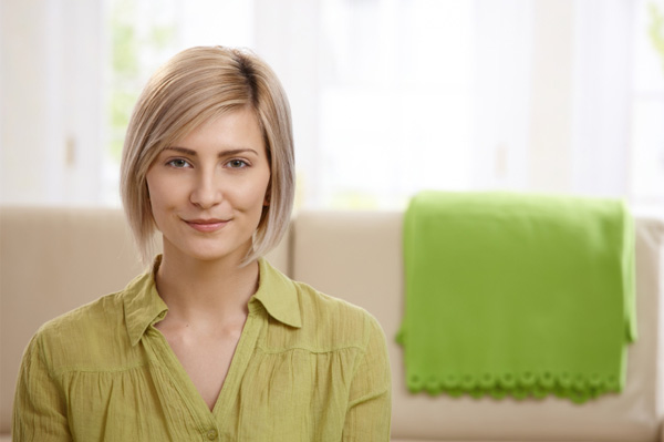 Woman in organized living room