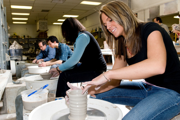 Woman in pottery class