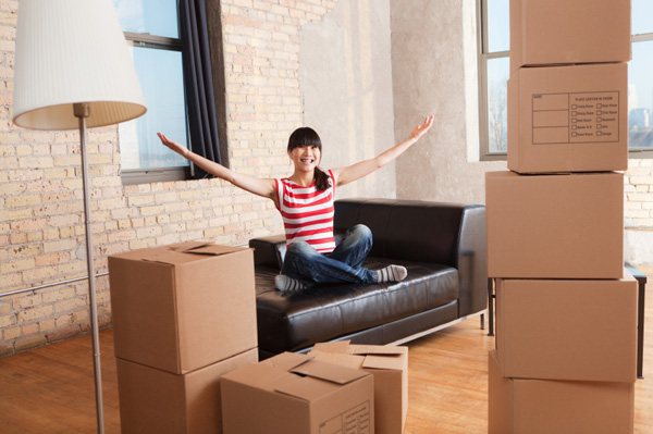 Woman in rental apartment