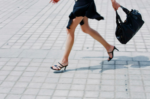 Woman running late