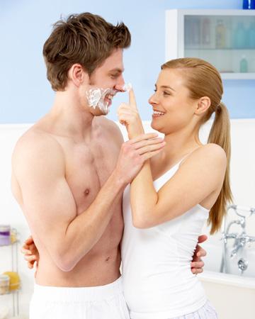 Couple flirting in bathroom