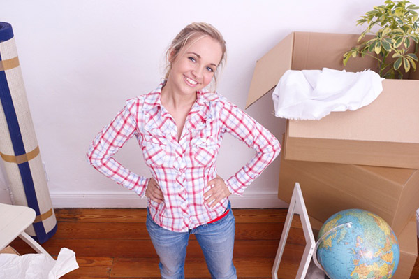 woman moving out of her house