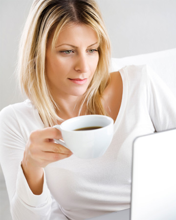 Woman researching medical issues