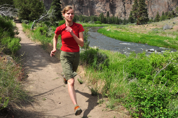 Woman running in Pacific Northwest