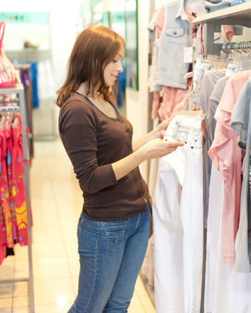 Woman shopping for jeans