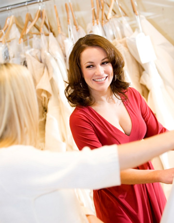 Woman shopping for wedding dress