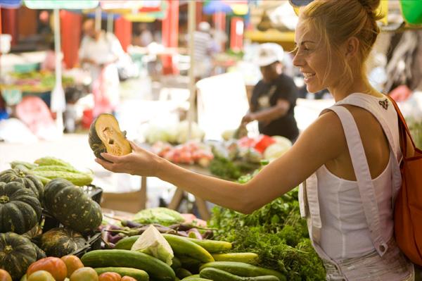 Woman shopping locally