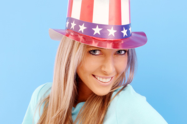 Woman wearing American Flag Hat