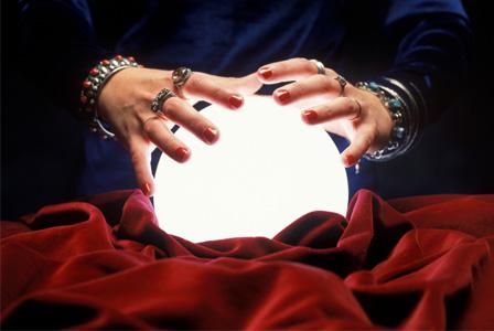 Woman with crystal ball