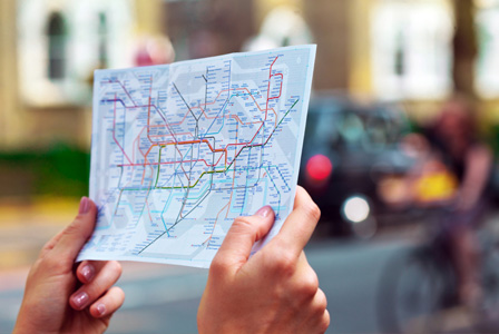 Woman on map of London underground
