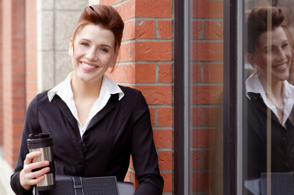 Woman with fast updo on way to work