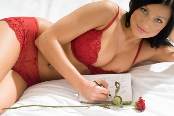 sexy woman writing love letter