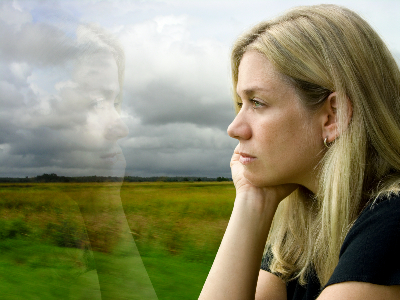 woman reflecting