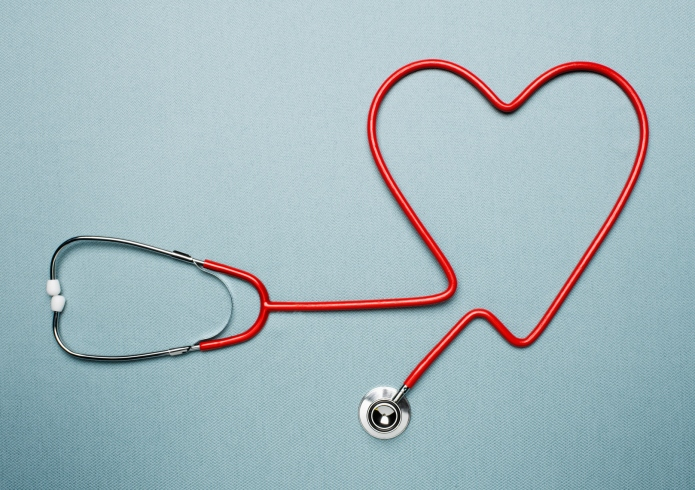 Stethoscope forming heart shape