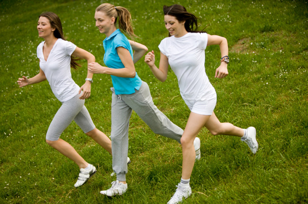 Women running in the Spring