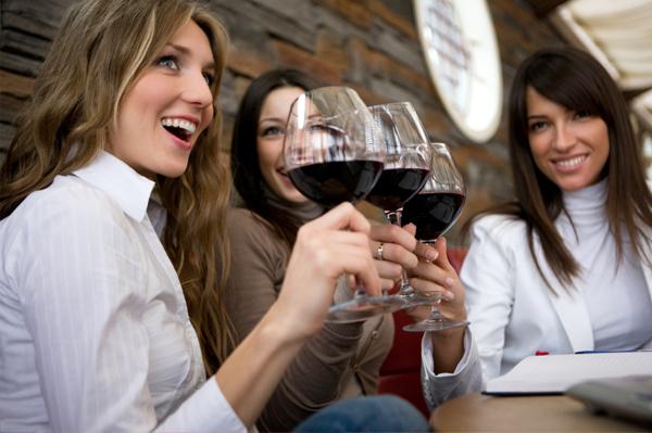 Woman at winetasting party