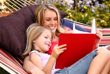 Mom reading with her daughter