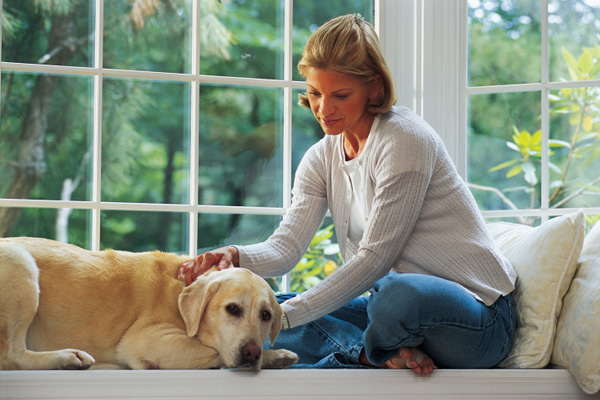 Worried woman with dog